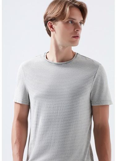 Mavi Çizgili tişört Gri